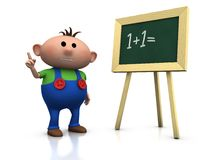Boy with blackboard. 3d rendering/illustration of a cute cartoon boy in front of a blackboard raising his hand vector illustration