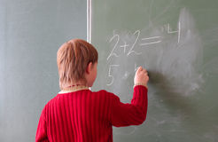 Boy by the blackboard Royalty Free Stock Image