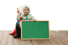 Boy with blackboard Royalty Free Stock Photo