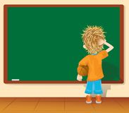 Boy and blackboard. (vector, CMYK) Stock Photo