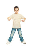 Boy in blank beige t-shirt Royalty Free Stock Image
