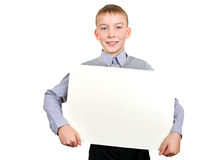 Boy with Blank Board Stock Images