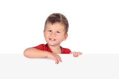 Boy with blank board Royalty Free Stock Images