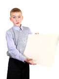 Boy with Blank Board Stock Image
