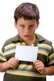 Boy with blank card 1 Stock Images