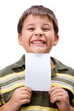 Boy with blank card 3. Boy with blank card in white stock photos
