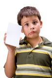 Boy with blank card 4 Royalty Free Stock Photo