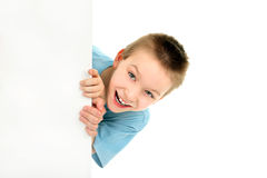 Boy with blank paper Royalty Free Stock Photography