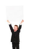 Boy with blank paper Stock Photos