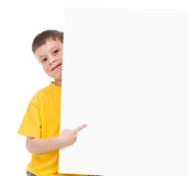 Boy with blank paper sheet Stock Photos