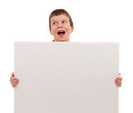 Boy with blank paper sheet Stock Images