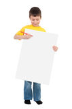 Boy with blank sheet Royalty Free Stock Images