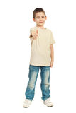 Boy in blank t-shirt giving thumbs Royalty Free Stock Image