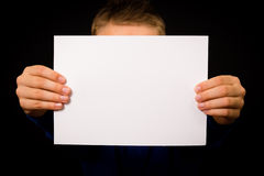 Boy with blank white sign Royalty Free Stock Photo