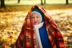 Boy with blanket in autumn park Stock Images