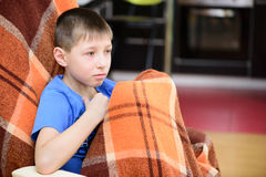 Boy with a blanket Stock Photo