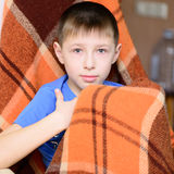 Boy with a blanket Royalty Free Stock Photos