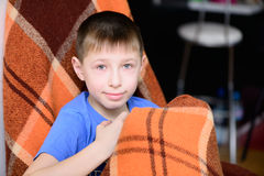 Boy with a blanket Royalty Free Stock Image