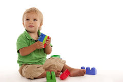 Boy with block Royalty Free Stock Images
