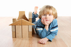 Boy with blocks Royalty Free Stock Photography