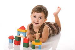 Boy and blocks Stock Photography