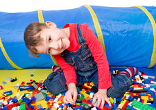 Boy with blocks Stock Images