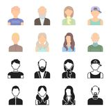 Boy blond, bald man, girl with tails, woman.Avatar set collection icons in black,cartoon style vector symbol stock Stock Images