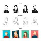 Boy blond, bald man, girl with tails, woman.Avatar set collection icons in black,flat,outline style vector symbol stock Royalty Free Stock Photography