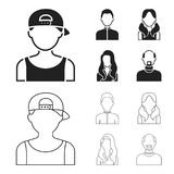 Boy blond, bald man, girl with tails, woman.Avatar set collection icons in black,outline style vector symbol stock Stock Image