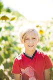 A boy with blond hair in a field with sunflowers. Boy with blond hair in a field with sunflowers royalty free stock images