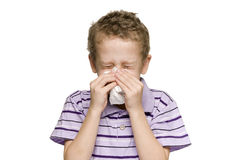 Boy blow nose horizontal Stock Photography