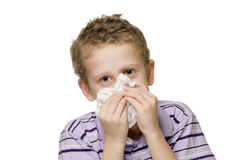 Boy blow nose two hands Royalty Free Stock Images