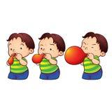 Boy blow up balloon vector illustration