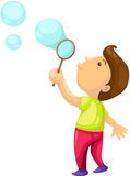 Boy blowing  bubbles. Illustration of isolated boy blowing  bubbles on white Royalty Free Stock Photo