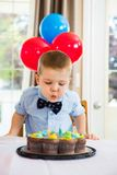 Boy Blowing Candles On Cake Royalty Free Stock Photography