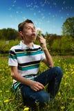 Boy blowing dandelion seeds Stock Image