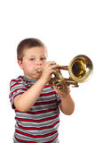 Boy Blowing Trumpet Stock Photography