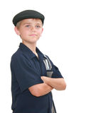 Boy in Blue. Young preteen boy with arms crossed, isolated on white Stock Image