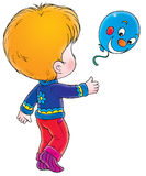 Boy with blue balloon royalty free illustration
