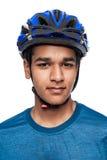 Boy in Blue Bike Helmet. Royalty Free Stock Photo