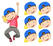 Boy with blue cap and many expression faces Royalty Free Stock Image