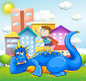 Boy and blue dragon in the park Royalty Free Stock Photography
