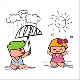 Boy in blue dress Spreading the umbrella on a rainy day and girl   Stock Image