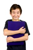 Boy with blue file, isolated Stock Photography