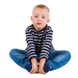 Boy in blue jeans Stock Photos