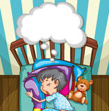 Boy in blue pajamas sleeping Royalty Free Stock Photo
