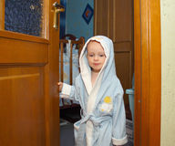 A boy in a blue robe Royalty Free Stock Photos
