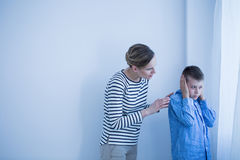 Boy in blue shirt Stock Image