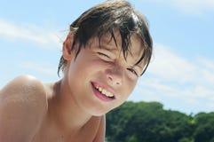 Boy blue sky stock photography
