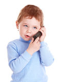Boy in blue speak on phone. Stock Photos